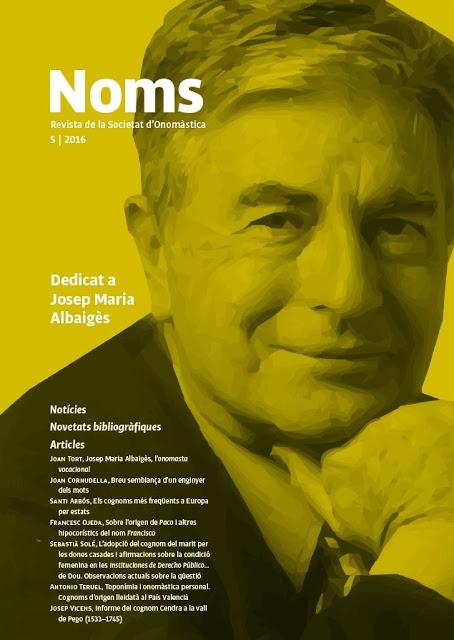 NOMS 5 i l'anuari ONOMÀSTICA-2016