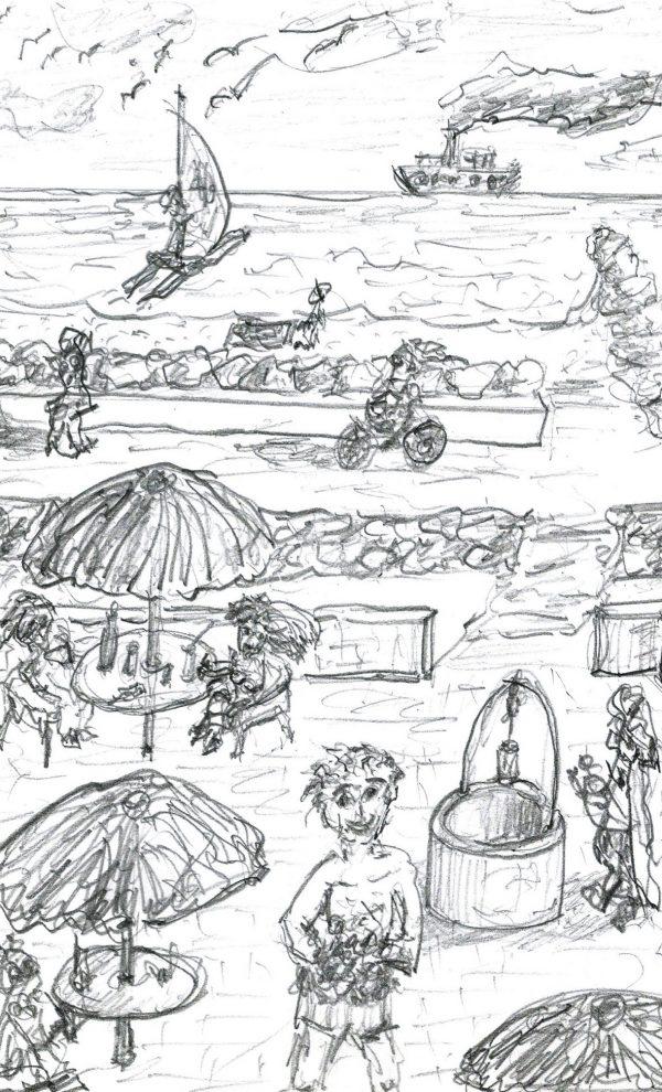 "J.L.Gunturiz. Il·lustració del conte ""Ximo, cuiner"""